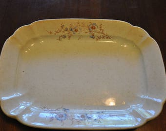 Antique Dresden Platter with Blue & Brown Flowers, Well Worn Shabby Chic, 12.25 x 9 in.