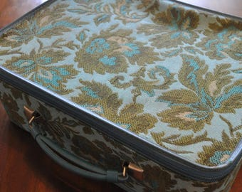Vintage Small Suitcase, Blue And Green Cloth Suitcase, 11 x 15.5