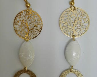 Earrings white pearls and Golden prints