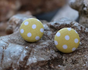 19mm Fabric Covered Button Earrings