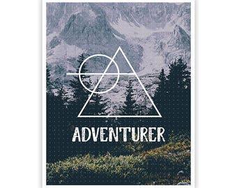Adventurer Poster / Geometric Design / 8 x 10 /  Lustre Finish Kodak Print