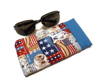 Sunglasses Case, Patriotic Red, White and Blue Snappy Sunglasses Case, Padded Fabric Eyeglass Case,Eyeglass Case,