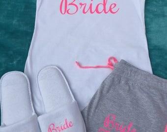 Bride pajamas, bridesmaid pajamas, personalised pyjamas, shorts, booty shorts, personalised tank top, maid of honour gift, personalized gift