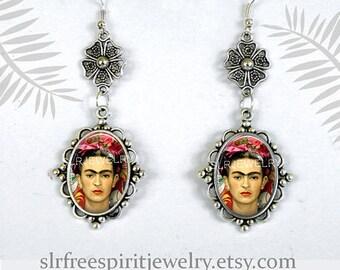 Frida Kahlo Jewelry, Frida Kahlo Earrings, Photo image Jewelry, Women Artist, Art, Black Cat, Frida Kahlo Gift, Valentine gift