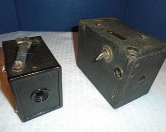 Box cameras. Vintage box cameras. ANSI buster brown camera. Agfa A8 Cadet camera. Camera. collectible camera.  antique camera.  Box camera.