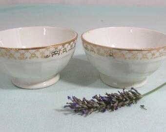 2 French breakfast bowls, 'Cafe au lait' bowls, small breakfast bowls, French vintage china, 1950's
