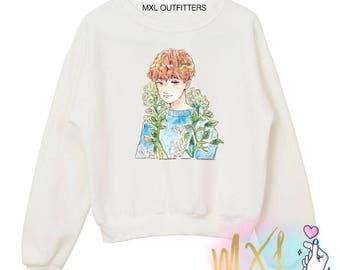 Floral The8 // Minghao kpop Seventeen Crewneck Sweatshirt (Design by Nellhoe)