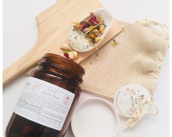 BATH TEA | Posy | O r g a n i c | Flowers and Essential Oils | Epsom & Sea Salts | Soothing | Relaxing | Gifting |