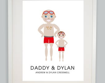 Father's Day Portrait Portrait, Father's Day Gift, Nursery Picture, Family Wall Art, Father and Son Portrait