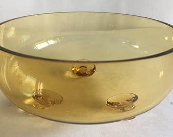 Hand Blown Art Glass 3-Toed Scroll Footed Amber/Honey Console Or Centerpiece Bowl - Viking Glass?