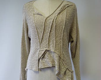 Special price. Casual handmade beige boucle swetaer, M size.