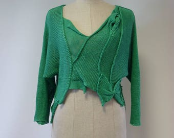 Special price. Tropical green linen sweater, M size.
