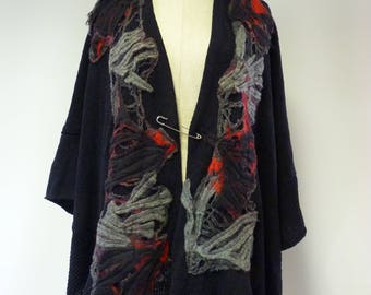 Exceptional boho knitted poncho, oversized. Only  one sample.