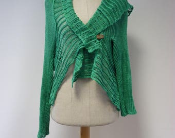Special price. Boho tropical green linen cardigan, M size.