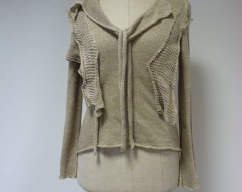 Taupe handmade sweater, M size. Made of pure linen.