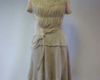Boho taupe dress, L size, Made of pure linen.