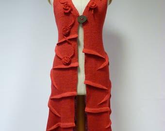 Sale. Artsy long coral linen vest, S size.