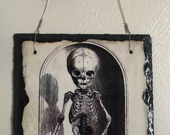Skeleton slate wall hanging