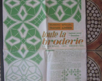 1972 French Vintage Journal des brodeuses ouvrage de dames Embroidery  Broderie fantaisie monogrammes,alphabet complet,simple & combinables