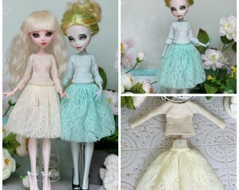 Mint Top and skirt for Monster High / EverAfterHigh dolls 1/6 size
