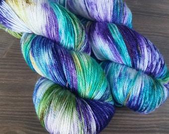 Hand Dyed Yarn, BFL/ Cashmere/Silk Yarn, Purple Blue Gold Green NON SUPERWASH