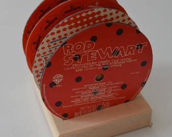 4 vintage rod stewart record vinyl label drink coasters with wooden display base