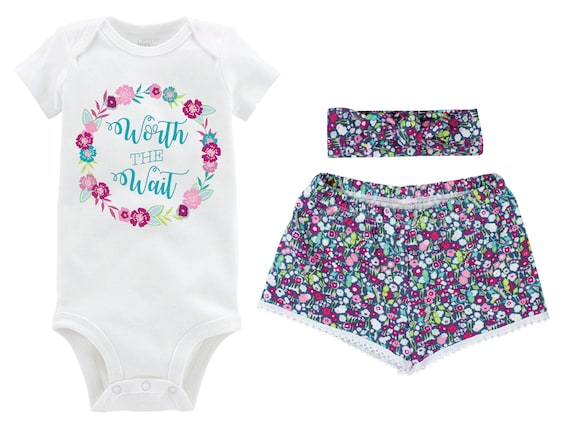 Worth the Wait Onesie Floral Girl Outfit Going Home Outfit Shorts Outfit Girl Summer Worth the Wait Outfit Floral Outfit Baby Shower Gift