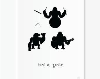 Band of Gorillas - 30x40cm animal art print for nursery, kids room, wall decor