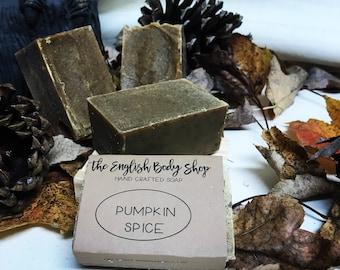 Pumpkin spice handmade cold process soap bar. All natural pumpkin puree, organic, vegan ingredients, including olive oil