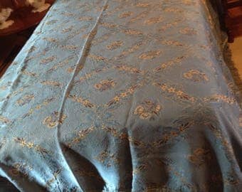 1930s Italian BoHo Gypsy cotton and rayon blue bedspread bedding coverlet throw