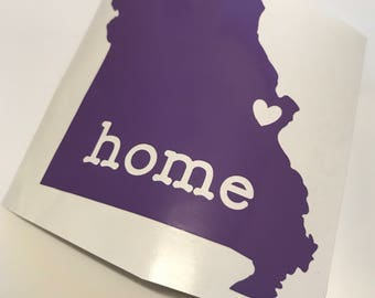 Vinyl Decal - Home State with Heart