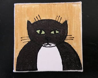 Kitties Tiny Magnet #5 Original Illustration on Canvas Board