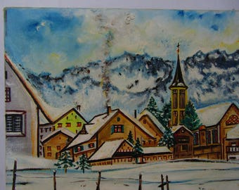 Vintage German winter oil painting signed and dated 1977