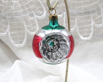 Indent Reflector Ornament, Mercury Glass Ornament Made in Mexico, Christmas Tree Decor, Gift Under 5, Christmas Gift