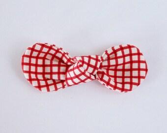 Red Gingham Fabric Knot Bow // Nylon Headband // 2 Buck Tuesday // Girls Hair Accessories // Baby Hair Accessories // Headband