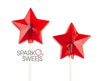 Red Star Lollipops Patriotic Independence Day Candy (24 Pieces) by Sparko Sweets