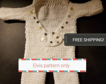 Pattern for a 0-12 month old white  Elvis outfit/costume  only. Phone help is,avalable with the purchase of this order!!
