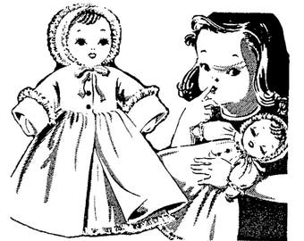 PDF Pattern, Baby Doll, Cloth Doll Pattern, Doll Clothes Pattern, Laura Wheeler, Alice Brooks, Sewing Pattern, Vintage Sewing, Rag Doll