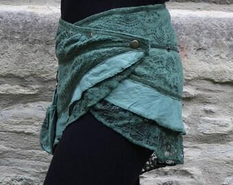 Mini Pixie skirt, Goa, Steampunk, Psy, Belt skirt, wrap skirt, Gypsy