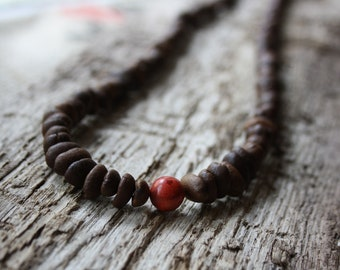 long coffee necklace with red pearl