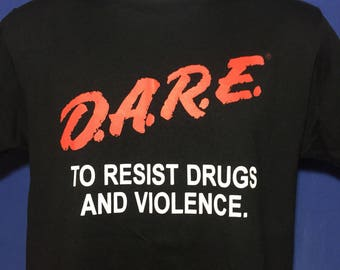 Vintage 90s DARE to resist drugs and violence t shirt classic logo *S