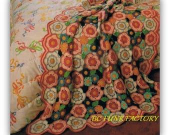 Afghan Crochet Pattern Summer Flowers - Vintage Home Decor Afghan Digital Crochet Pattern