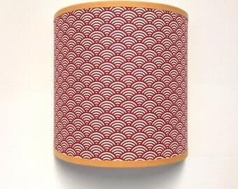 grand abat jour tissus motif japonisant rouge. Black Bedroom Furniture Sets. Home Design Ideas