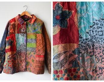 Vintage patchwork embroidered jacket | L/XL