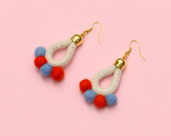 Colorful Pom Pom Earrings, Boho Statement Earrings, Playful Textile Rope Earrings, PomPom Jewelry, Unique Fabric Earrings, Felt Earrings