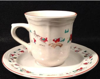 ON SALE Vintage Farberware White Christmas Cup and Saucer