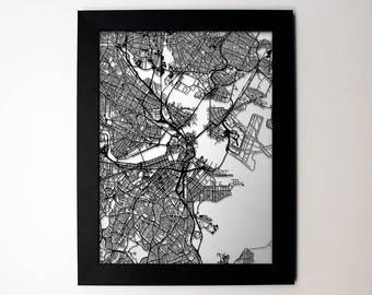 Boston Map, Laser Cut Map, Boston Massachusetts, Map of Boston, Boston Art, Boston Gift, Boston MA, Wedding Gift, Anniversary Gift, Wall Art