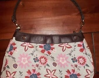 New Thirty-one Purse Grey with Red, Navy, & Pink Flowers Purse Skirt for Suite Skirt Purse 31 Gifts