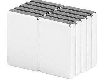 3/4 x 1/2 x 1/8 Inch Neodymium Rare Earth Bar Magnets N48 (10 Pack)
