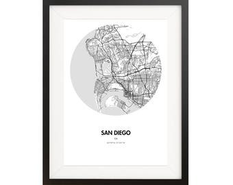 San Diego Map Poster - 18 by 24 inch Map Print